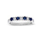 0.37cttw Sapphire and Diamond Band set in 14k White Gold
