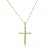 925 Sterling Silver Yellow Gold-Tone Clear CZ Religious Latin Cross Pendant Necklace, 46cm