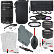 Canon EF 75-300mm f/4-5.6 III Lens, along with Telephoto & wide angle lens, 58mm Filters, Fibertique cleaning cloth along Deluxe cleaning Accessory Bundle