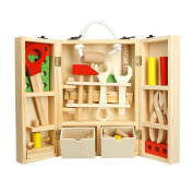 Wooden Toy Tool Kit, Bestale Solid Vintage Wooden Toolbox with Colourful Wooden Tools, Puzzle Construction Toy Role Play Set