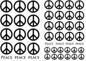 Peace Signs 1.3cm - 2.5cm - Black 14CC389 Fused Glass Decals