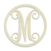 UNFINISHEDWOODCO Single Letter Circle Monogram-M, 48cm , Unfinished