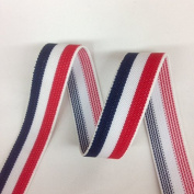 Strapcrafts 2.5cm Wide Soft American Flag Elastic Bands By 3-yard, Waistband Elastic , Sewing Elastic, Three Colours Elastic Blue-White-Red
