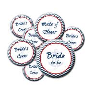8 Nautical Team Bride Buttons - Bachelorette Buttons - Bridal Party Buttons - Nautical Wedding
