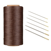 AntKits 284 yards 150D 0.8mm Flat Leather Waxed Thread Cord and 12 pcs Stitching Needles with Big Pinhole for Leather Factory or Leathercraft DIY, Light Coffee