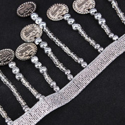 5yards Silver Coin Beads Fringe Tassel Trimming Belly Dance Dress Decoration Applique Scrapbooking for Clothing Dancewear T1762