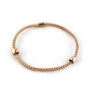 Yellow, White or Rose Gold Sterling Silver Flexible Mesh Bracelets with Beads