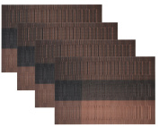 Cosystore Bamboo PVC Weave Placemats Non-slip Kitchen Table Mats Set of 4 - 30x45 cm