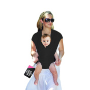 HuggyHug Baby Wrap, Carrier, Loop Style, No Wrapping Involved, Luxurious Black, Small