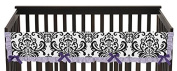 Sweet Jojo Designs Sloane Lavender Purple and Damask Long Front Rail Guard Baby Teething Cover Crib Protector Wrap
