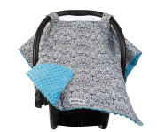 Carseat Canopy with Teal Minky - Best Car Seat Canopy for Popular Baby Carseat Models. Covers All Popular Car Seats. Breathable Soft Teal Minky Fleece Fabric.