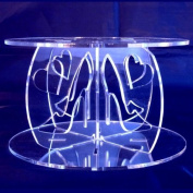 High Heels & Hearts Round Acrylic Pillars Wedding & Party Cake Separators / Stands 20cm - 18cm