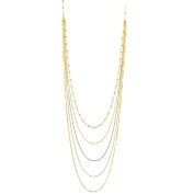 18k Gold-Flashed Sterling Silver Multi-strand Long Layered Chain Necklace Italy, 90cm
