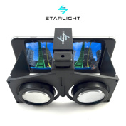 Starlight Pocket Virtual Reality VR Headset – 3D Portable Goggles for up to 10cm - 15cm iPhone or Android Smartphones - Higher Quality Google Cardboard VR – Handheld for Use Over Eye Glasses