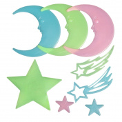 Butterme 1 Set Fluorescence Glow in Dark Luminous Star Moon Wall Stickers Decals Star Nursery for Baby Kids Living Room Bedroom Home Decoration ()