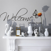 Kiki Monkey® PVC Black Butterfly Welcome to our Home wall sticker quote vinyl removable Decoration Frame for Living Room Wall Stickers
