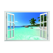 Beach Sea 3D Window View Scenery Removable Wall Stickers Decor Decal
