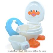 Babyhugs© - 3 in 1 Cute Duck Design Children Kids Toddler Potty Toilet Training Seat Step Stool with Anti-Slip Feet and Splash Guard - Blue
