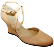Leather Wedge With Ankle Strap. From Via Uno, Brazil