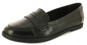 New Older Girls/Childrens Black Buckle My Shoe Thelma Loafer Shoes. - Black - UK SIZES 13-6