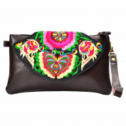 retro faux leather embroidered new butterfly Clutch Handbag Shoulder bag Wallet