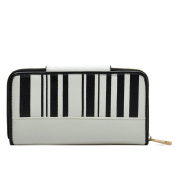 Oath_song Women's PU Leather Piano Keyboard Purse Wallet Handbag White