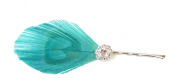 Sea Green Turquoise Silver Peacock Feather Hair Clip Fascinator Bridesmaid 230 *EXCLUSIVELY SOLD BY STARCROSSED BEAUTY*