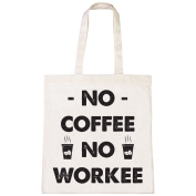 Batch1 No Coffee No Workee Fun Novelty Fashion Slogan Print Tote Bag Shopper