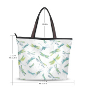 UHONEY Extra Large Handbags for Women,Colourful Dragonfly In Sunset Decoration White,Fashion Design Ladies Shoulder Tote Bag