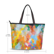 UHONEY Extra Large Handbags for Women,Colourful Piece Rainbow Coloured,Fashion Design Ladies Shoulder Tote Bag