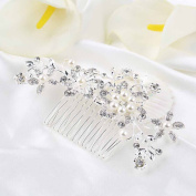 Haobase Bridal Wedding Flower Crystal Rhinestones Pearls Women Hair Clip Comb Hair Pin Accessories Jewellery