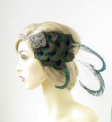 Silver Peacock Feather Headband 1920s Great Gatsby Flapper Headpiece Green 176 *EXCLUSIVELY SOLD BY STARCROSSED BEAUTY*