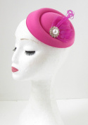 Hot Pink White Silver Feather Pillbox Fascinator Hat Races Vintage Hair Clip 137 *EXCLUSIVELY SOLD BY STARCROSSED BEAUTY*
