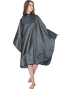 WM Beauty Grid Professional Water Repellent Adjustable Hairdressing Cape with Snaps Clousure, Grey