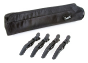 Black Hair Straightener Storage Bag with pack of 4 Hair Croc Clips for use with GHD, Cloud Nine and others