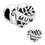 Uniqueen Jewellery New I Love You Heart Tree Of Life Charms Sale Cheap Bead fit Pandora Bracelet
