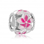 Uniqueen New Filigree Pink Flower Enamel Charm Sale Cheap Beads Fit Pandora Chamilia Charms Bracelet Gifts