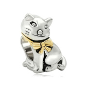 Uniqueen Jewellery Cute Cat Animal with Bowknot Charms Sale Cheap Beads fit Pandora Charm Bracelet
