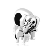 Uniqueen Mother's day Gift Elephant Mum Love Baby Charm Bead Sale fit Pandora Bracelet