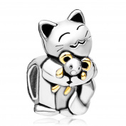 Uniqueen Smiling Cat Hugging Mouse Animal Charm Bead Fit Pandora Charms Bracelet