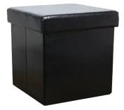 New Ottoman Foldaway Storage Blanket Toy Box Faux Leather Black by Humza Amani
