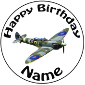 """Personalised Spitfire Cake Topper - A Pre-cut Round 8"""" (20cm) Icing Decoration"""