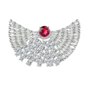 Adisaer Womens White Gold Plated Brooches and Pins for Wedding Fan Peacock Train White Cubic Zirconia