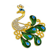 Gudeke Jewellery Gorgeous Enamel Green Peacock Crystal Rhinestone Brooch Pins Corsage