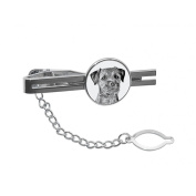 Border Terrier, tie pin, clip with an image of a dog, elegant and casual style