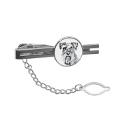 Schnauzer, tie pin, clip with an image of a dog, elegant and casual style