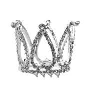 PIXNOR Flower Girl Rhinestone Crown Heart Tiara Headband with Hair Comb Clip