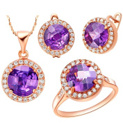 KnSam Women Rose Gold Plate Necklace Earring Ring Set Round Purple Crystal [Novelty Jewellery Set]