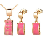 KnSam Women Gold Plate Necklace Earrings Set Pink Oil Rectangle Smooth & Charm [Novelty Jewellery Set]