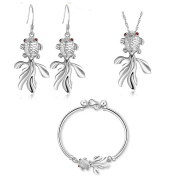 KnSam Women Platinum Plate Necklace Earring Ring Set Goldfish Red Eye Crystal [Novelty Jewellery Set]